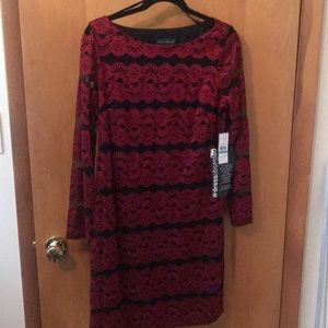 Jessica Howard Black & Red Lace Dress Size 16 NWT